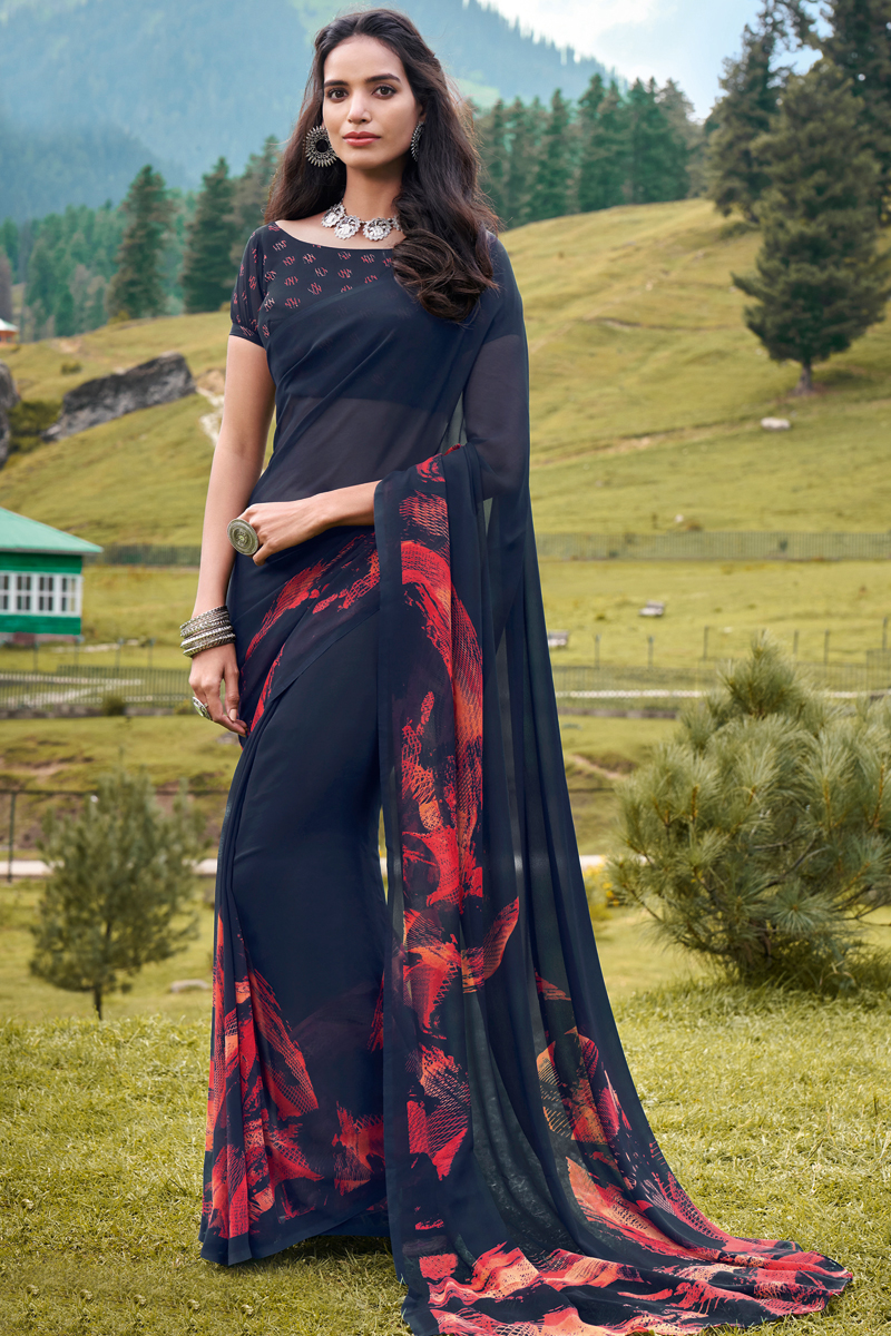 Casual Wear Fancy Printed Saree In Georgette Fabric Black Color