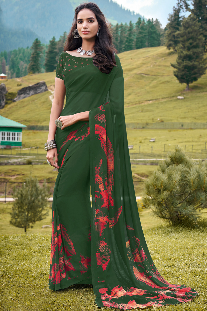 Georgette Fabric Dark Green Color Daily Wear Fancy Printed Saree