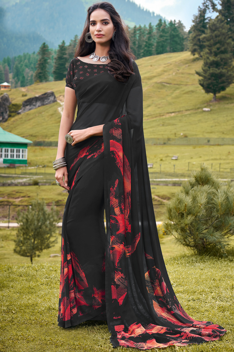 Georgette Fabric Office Wear Black Color Printed Saree