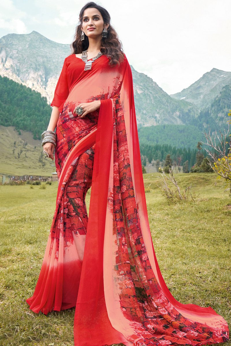 Fancy Georgette Fabric Printed Daily Wear Red Color Saree