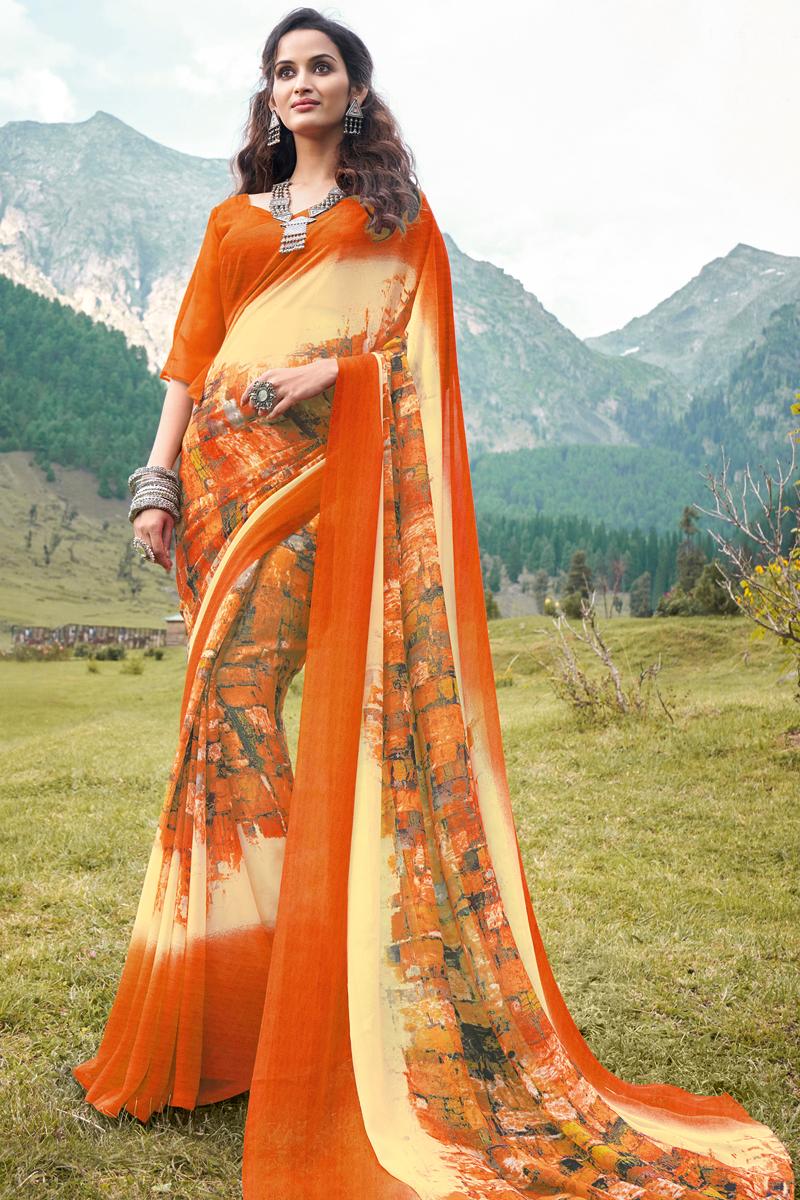 Orange Color Regular Wear Georgette Fabric Printed Saree