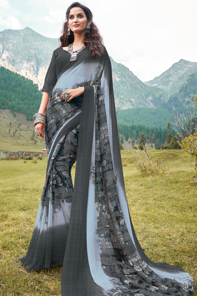 Georgette Fabric Grey Color Regular Wear Printed Saree