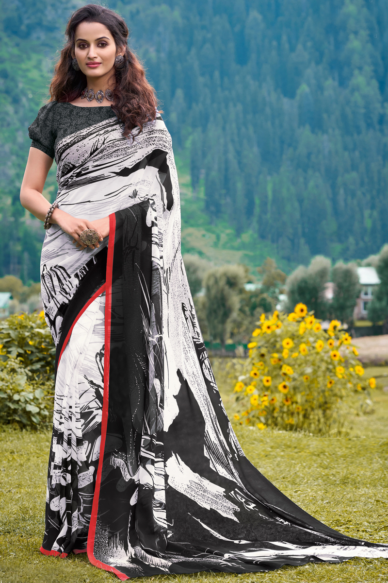 Regular Wear Georgette Fabric Printed Saree In White And Black Color