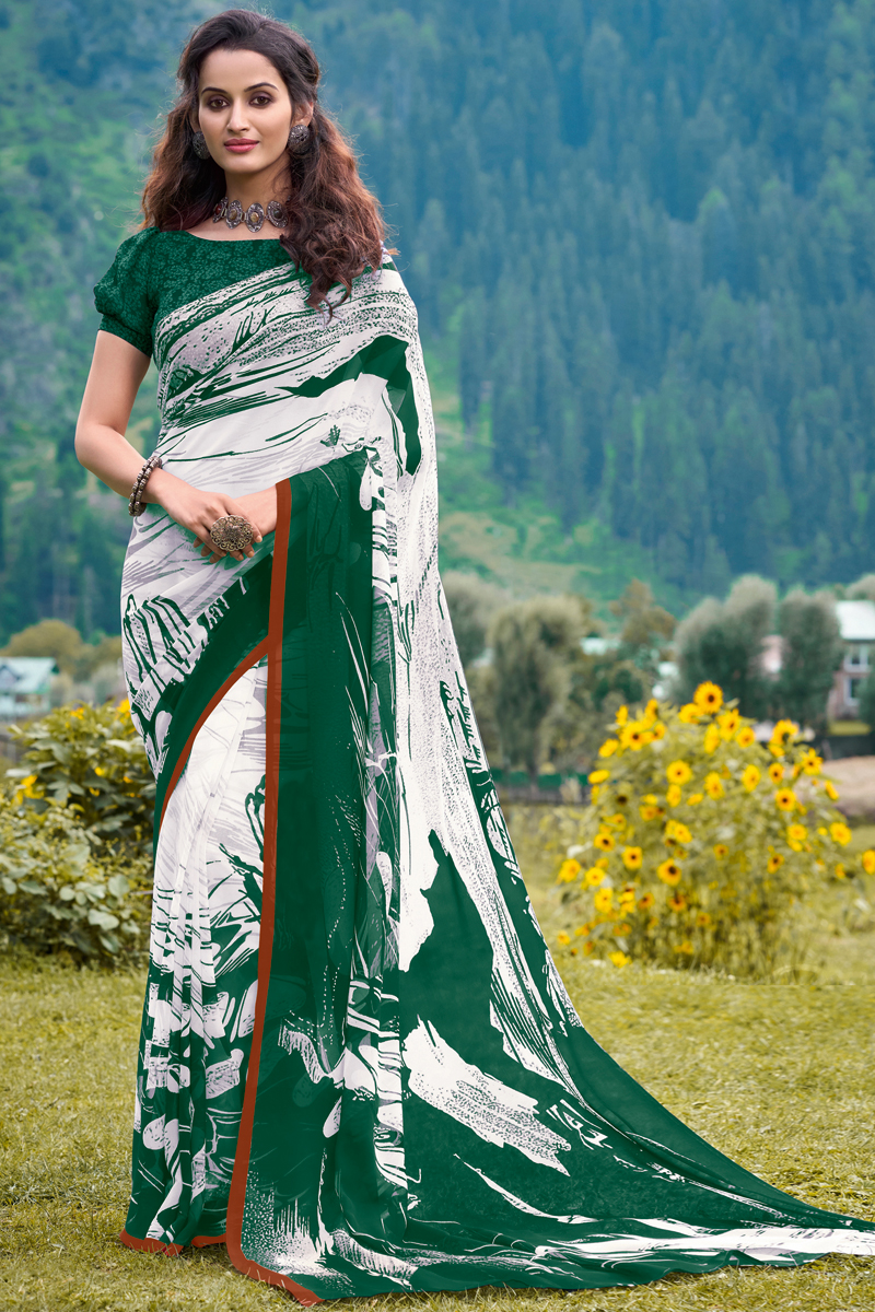 White And Green Color Georgette Fabric Regular Wear Fancy Printed Saree