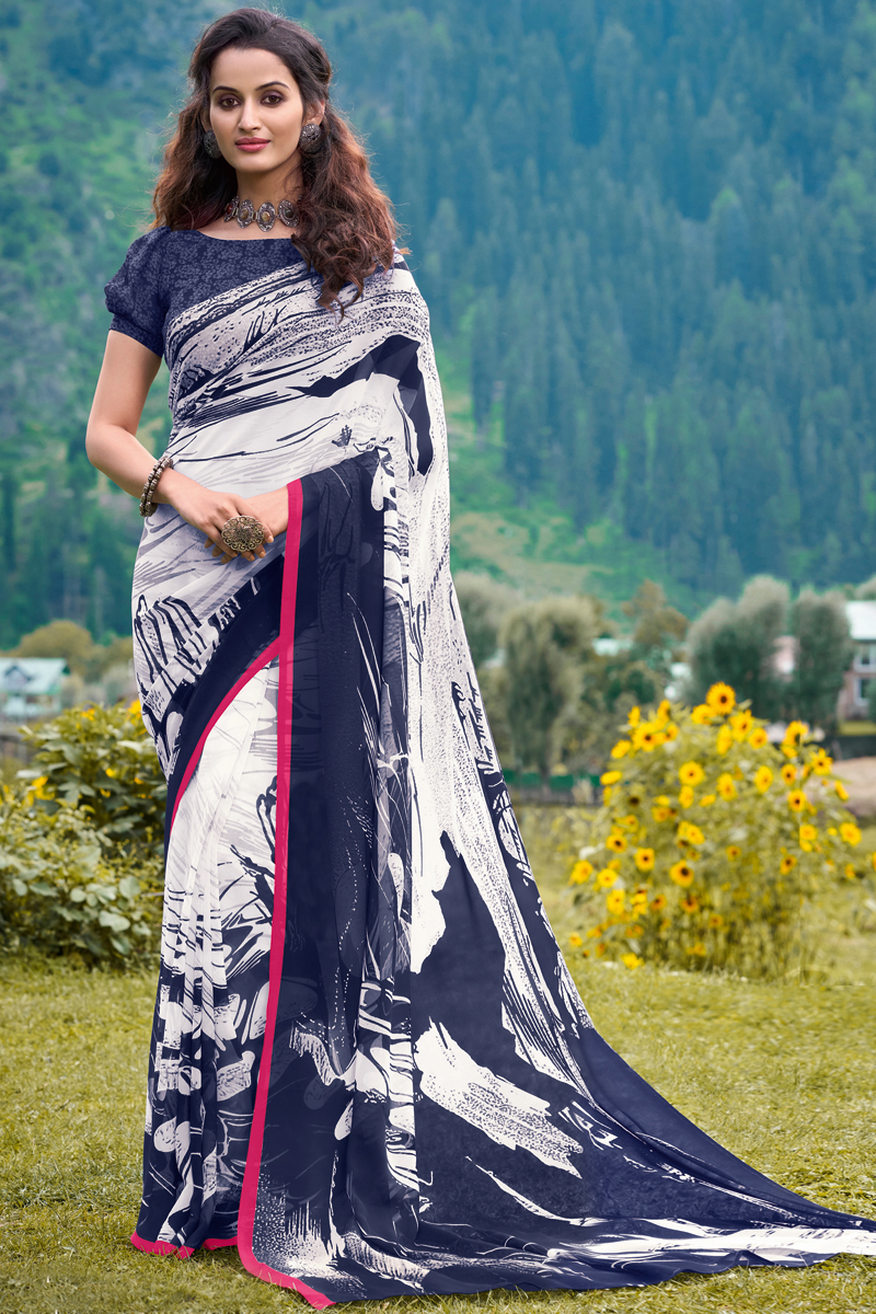 Georgette Fabric Regular Wear White And Blue Color Printed Saree