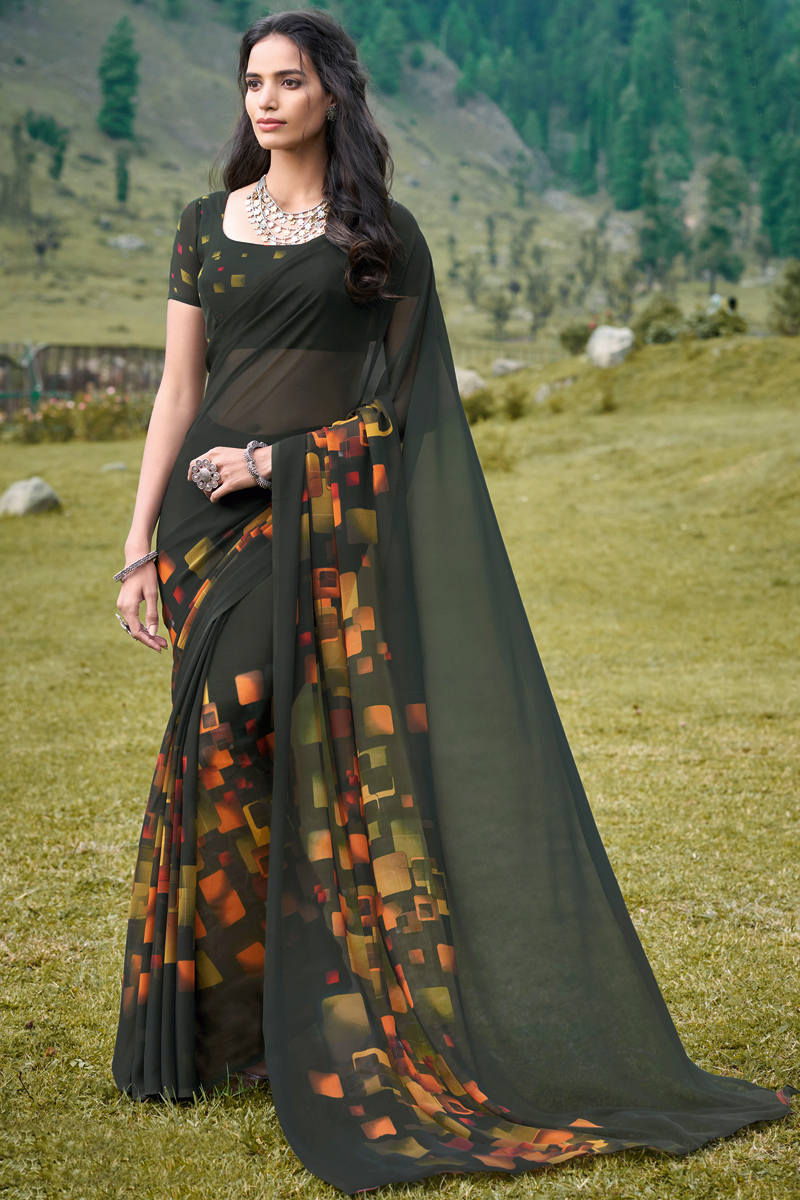 Dark Olive Color Georgette Fabric Fancy Printed Casual Saree