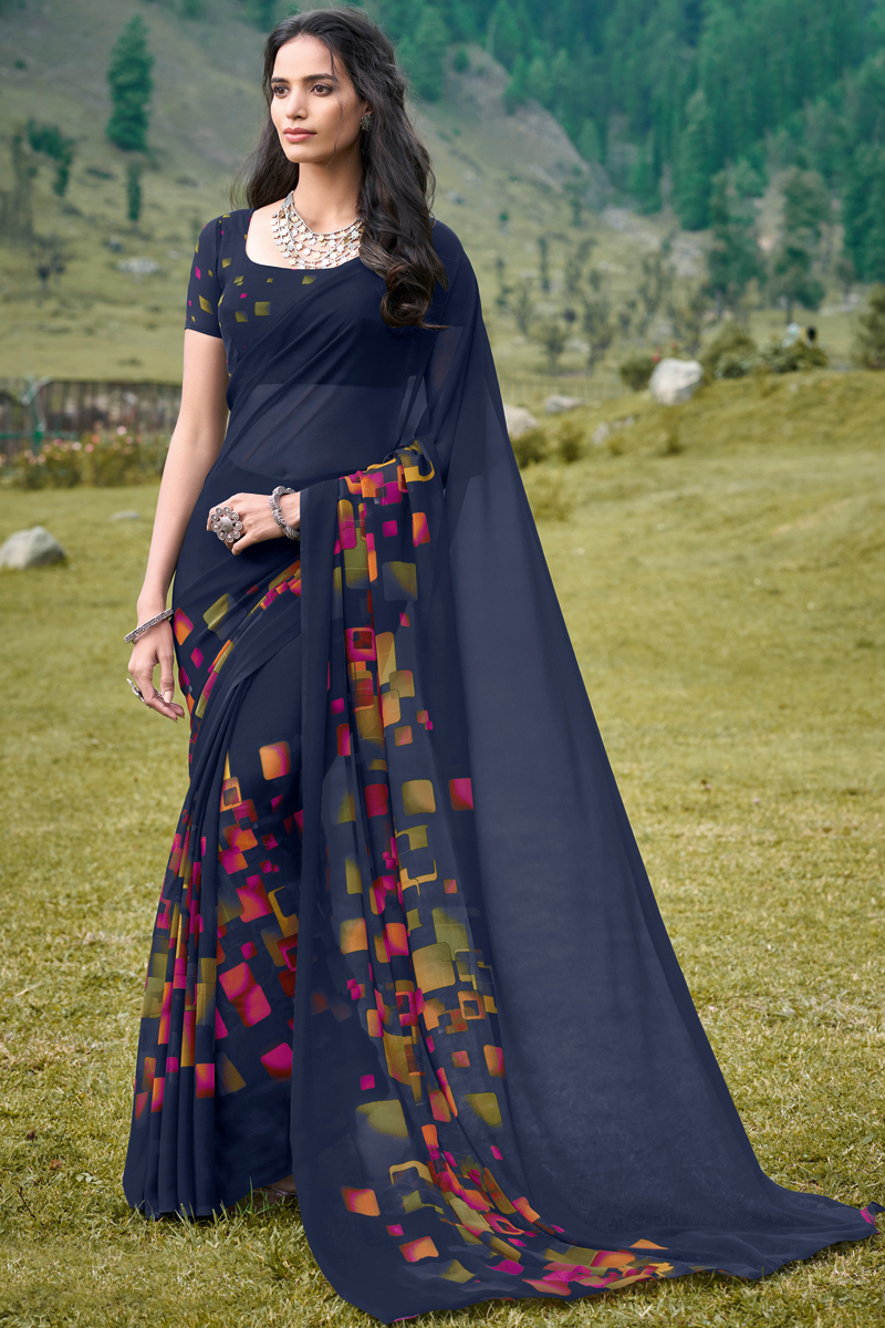 Trendy Printed Daily Wear Saree In Navy Blue Color Georgette Fabric