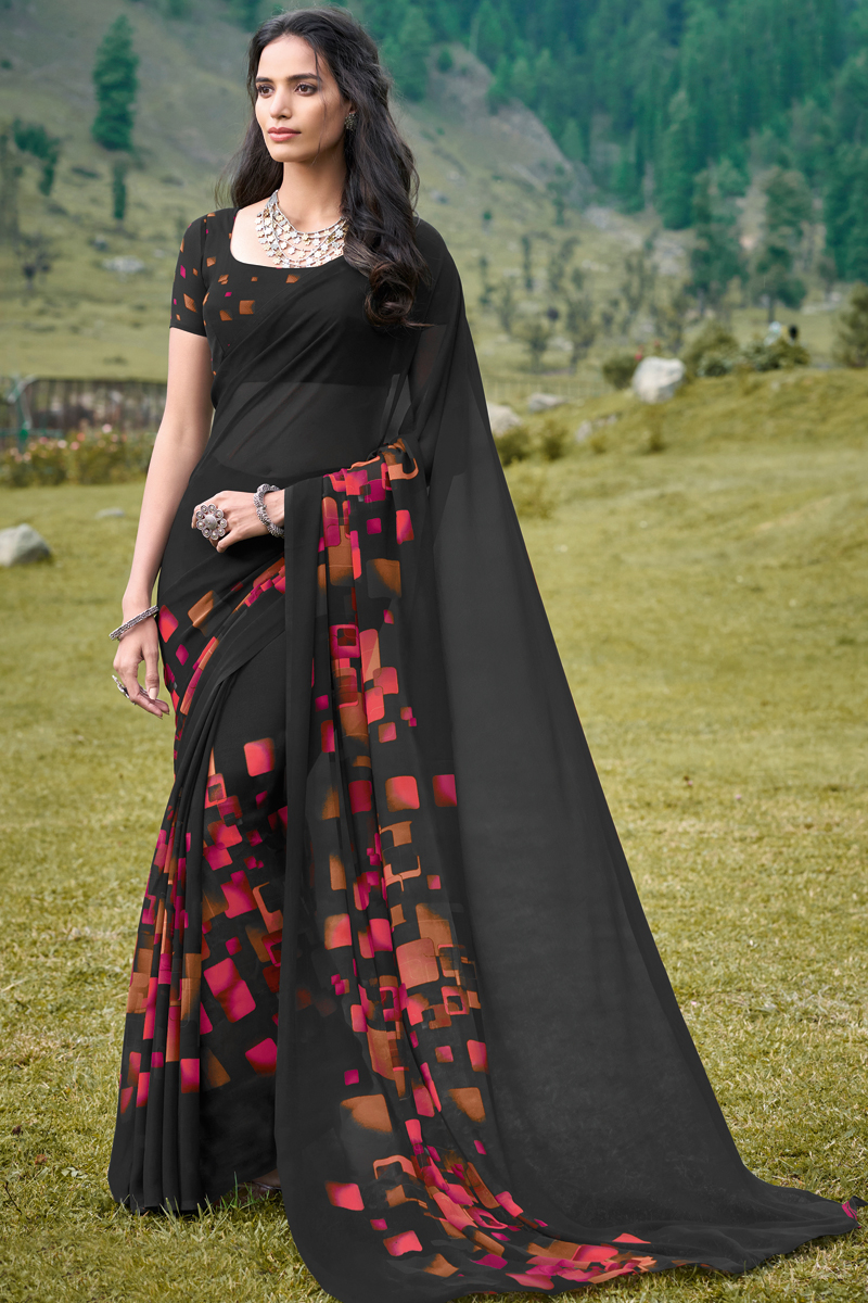 Black Color Casual Wear Simple Printed Saree In Georgette Fabric