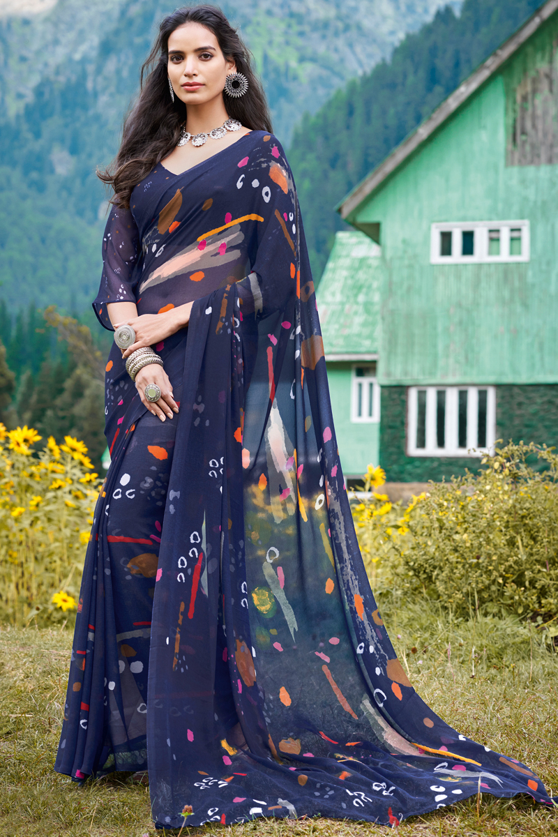Navy Blue Color Office Wear Printed Saree In Georgette Fabric