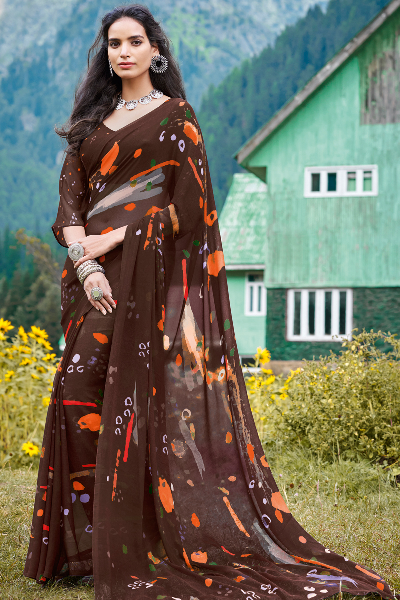 Brown Color Fancy Georgette Fabric Printed Casual Wear Saree