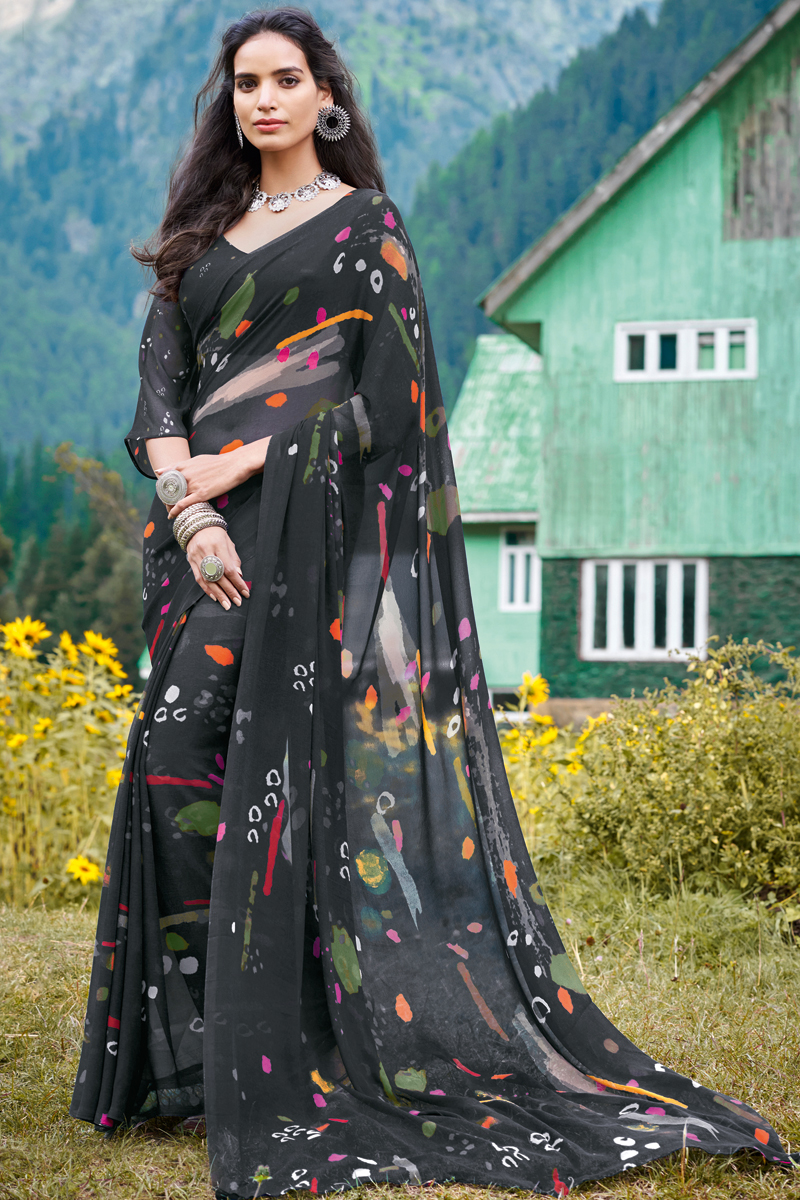 Black Color Georgette Fabric Trendy Printed Office Wear Saree