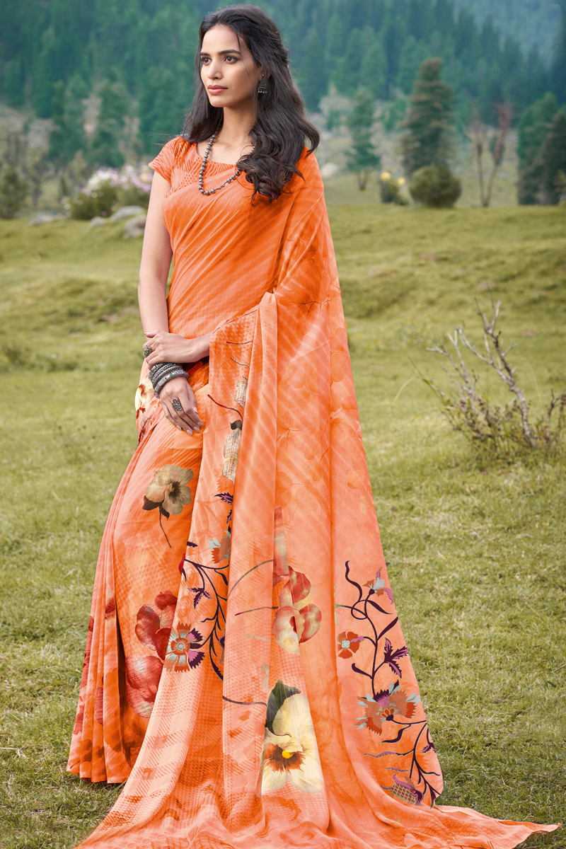 Orange Color Georgette Fabric Daily Wear Printed Saree