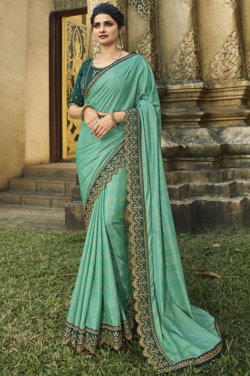 Prachi Desai Light Turquoise Color Georgette Silk Fabric Party Wear Saree With Embroidery Work