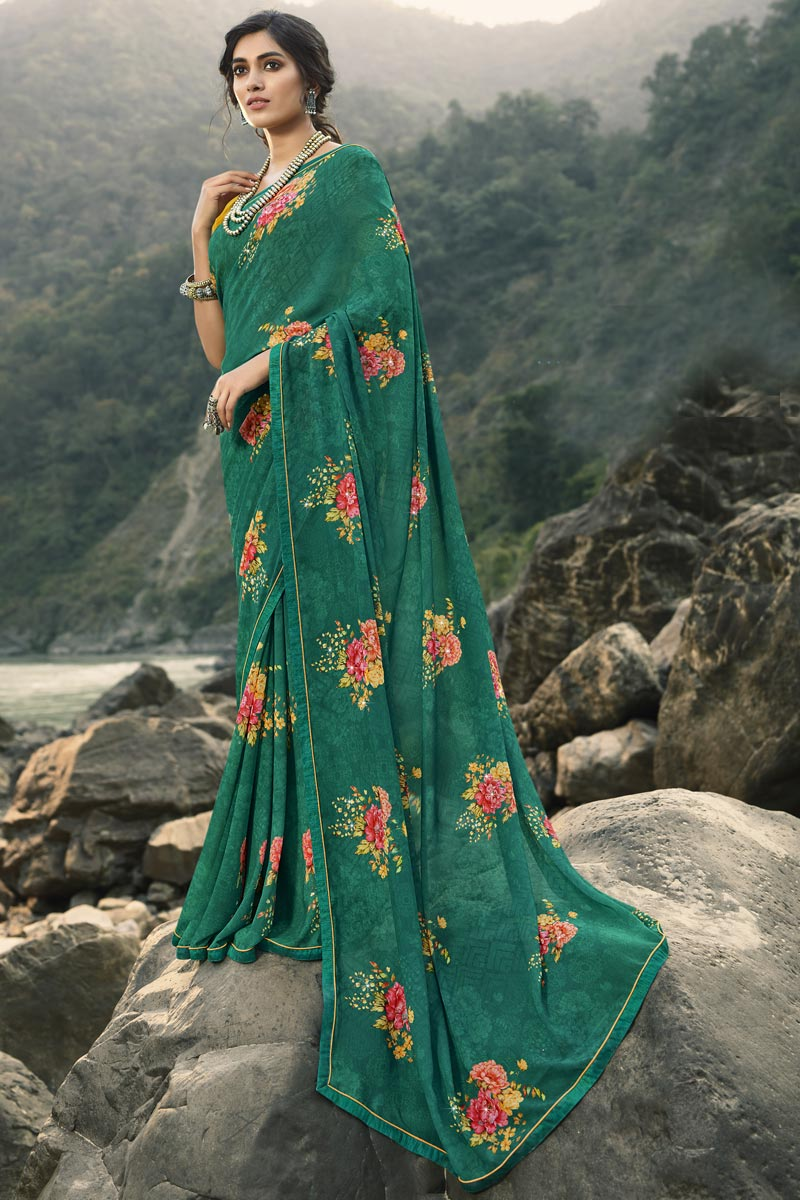 Teal Color Regular Wear Georgette Fabric Classic Printed Saree