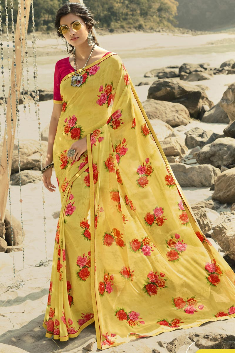 Regular Wear Classic Yellow Color Printed Saree In Georgette Fabric