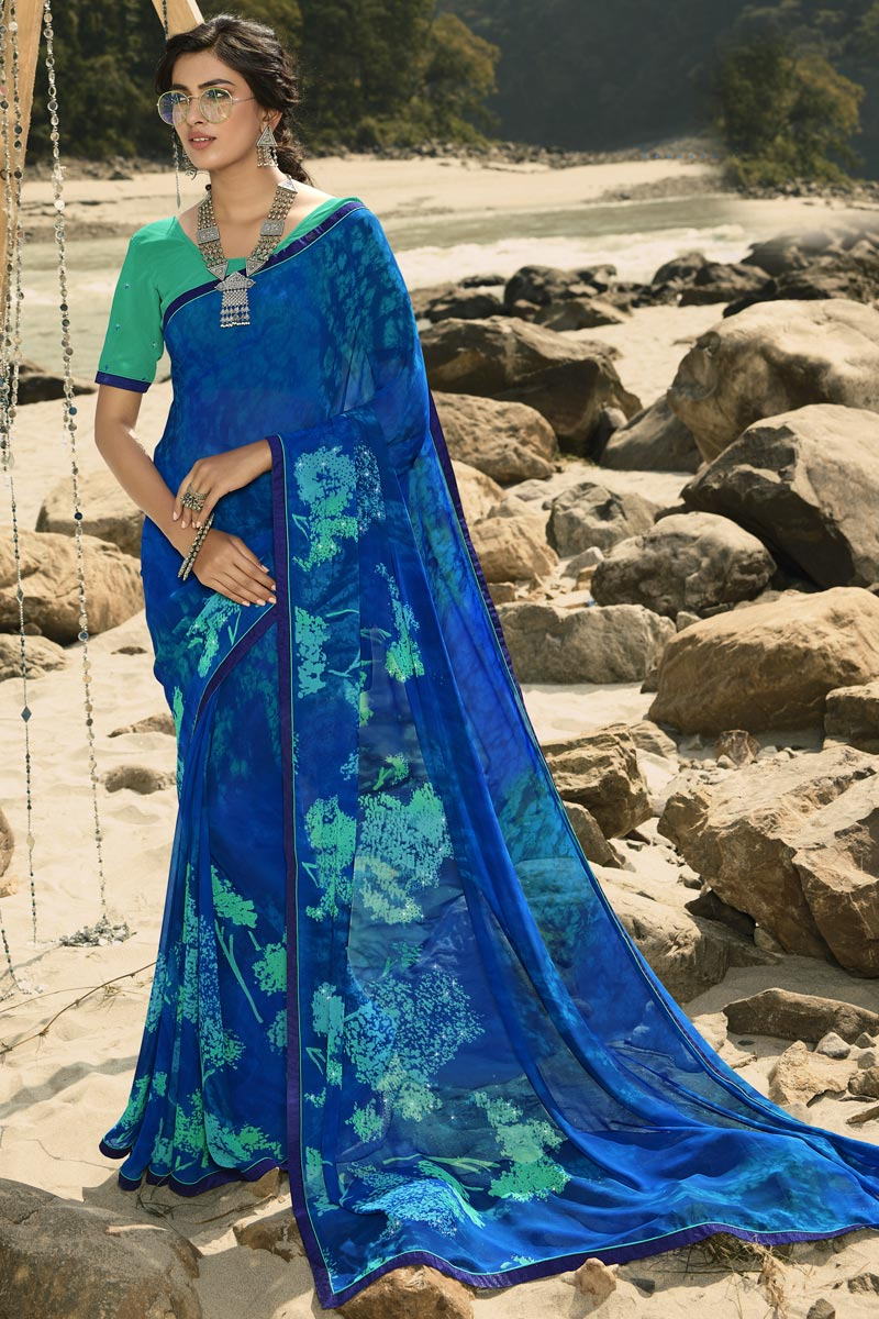 Regular Wear Blue Color Classic Georgette Fabric Printed Saree
