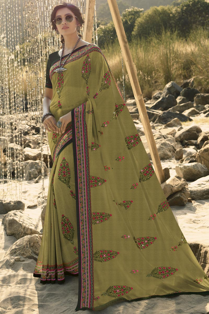 Regular Wear Mehendi Green Color Classic Printed Saree In Georgette Fabric