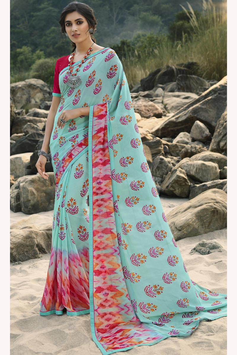 Regular Wear Georgette Fabric Classic Cyan Color Printed Saree