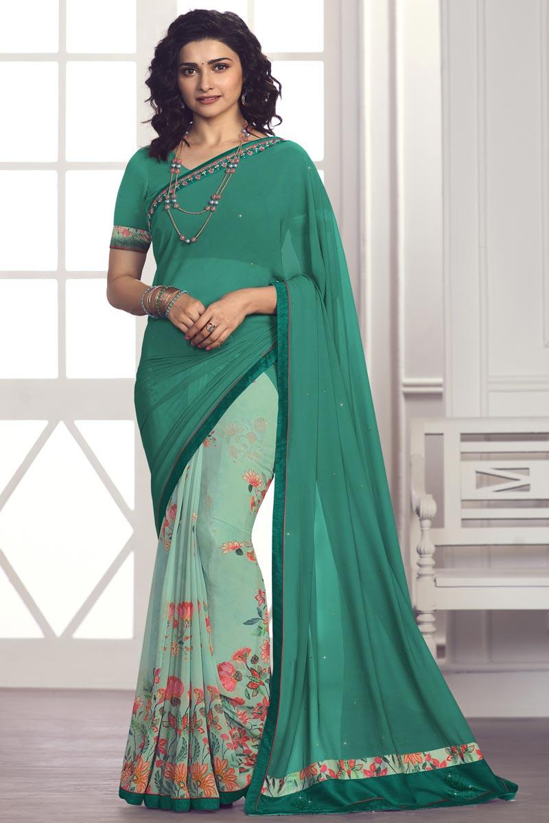 Prachi Desai Georgette Fabric Cyan Color Daily Wear Fancy Printed Saree