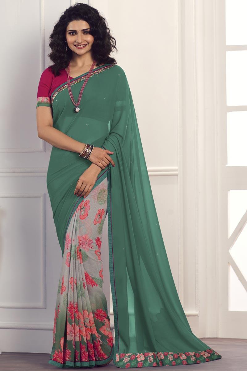 Prachi Desai Georgette Fabric Green Color Regular Wear Printed Saree