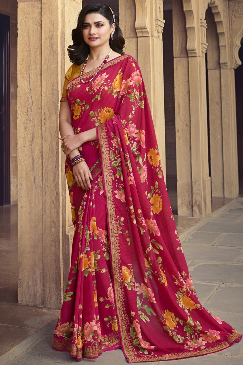 Prachi Desai Pink Color Daily Wear Georgette Fabric Fancy Printed Saree