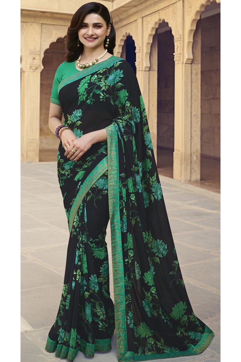 Prachi Desai Georgette Fabric Casual Wear Fancy Black Color Printed Saree