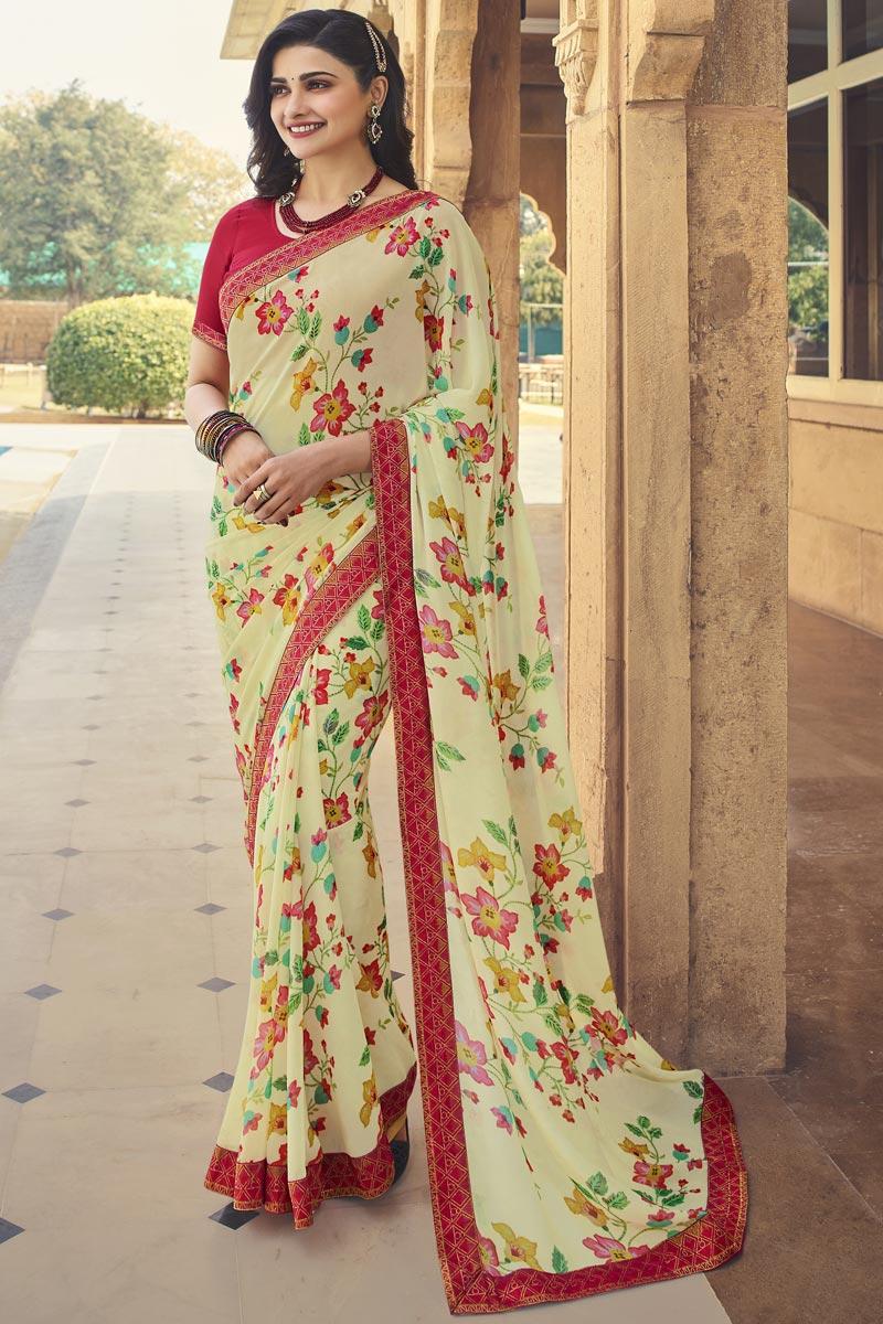 Prachi Desai Beige Color Regular Wear Georgette Fabric Fancy Printed Saree
