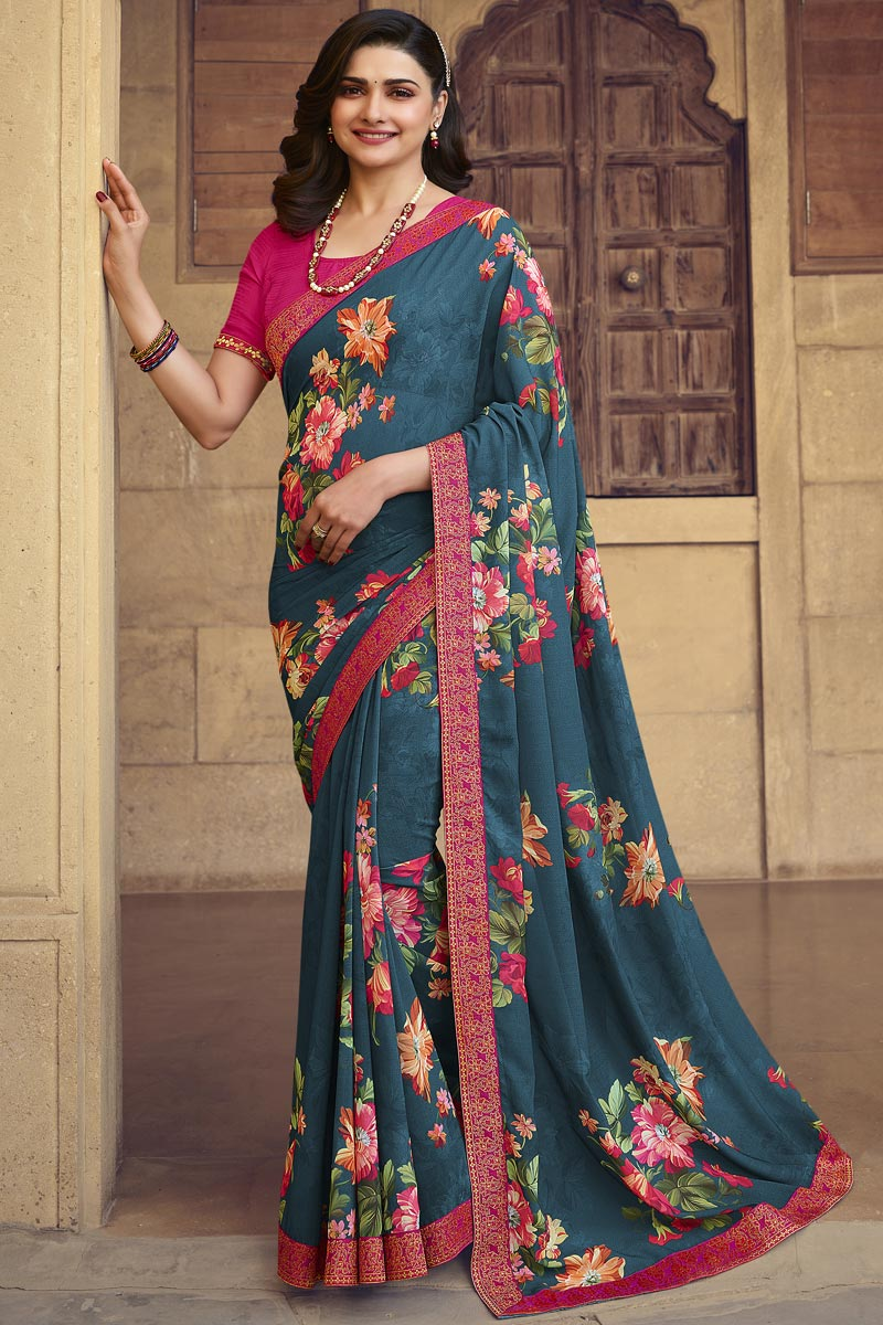 Prachi Desai Georgette Fabric Daily Wear Fancy Teal Color Printed Saree