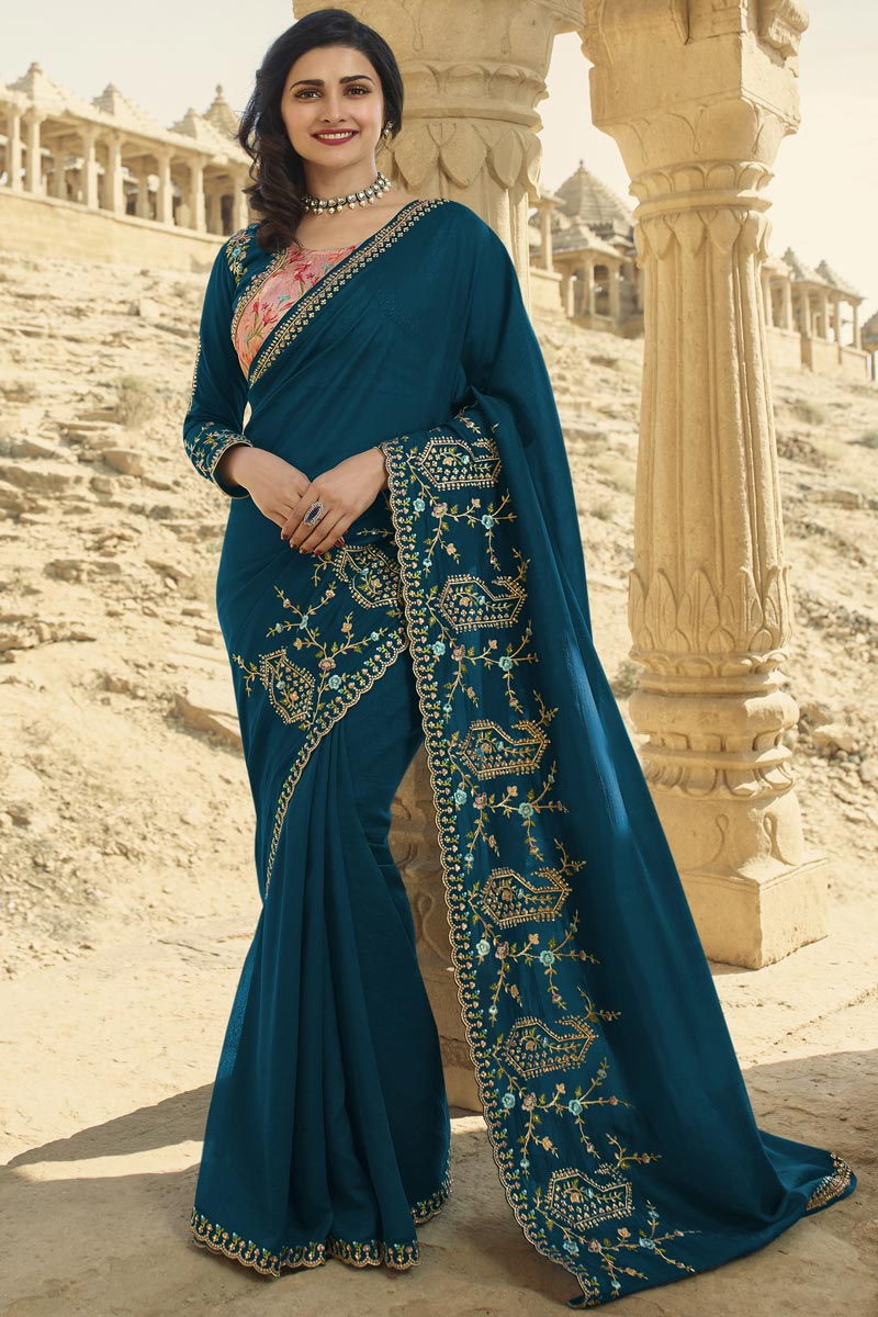Prachi Desai Teal Color Function Wear Art Silk Fabric Fancy Embroidered Saree