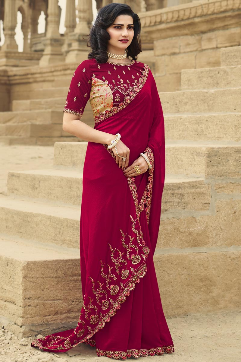 Prachi Desai Art Silk Fabric Function Wear Fancy Embroidered Saree In Maroon Color