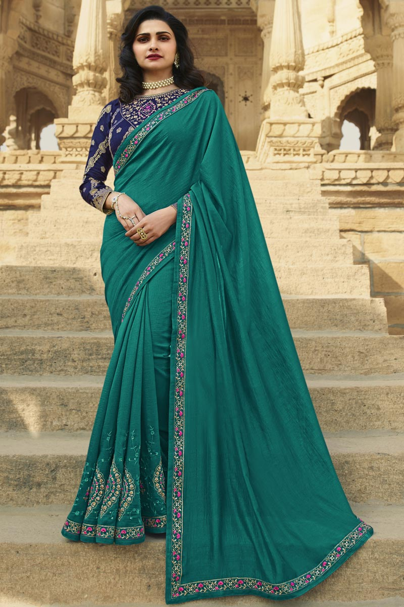 Prachi Desai Function Wear Cyan Color Fancy Art Silk Fabric Embroidered Saree