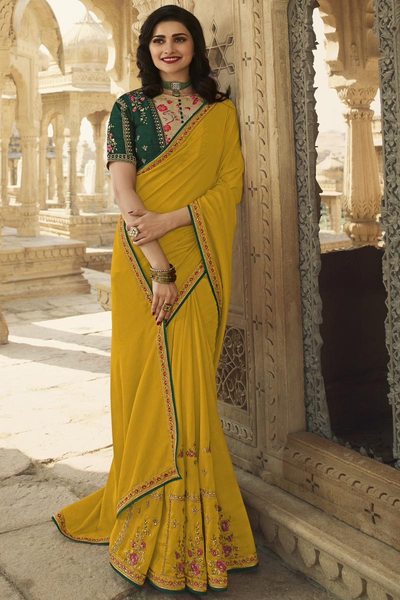 Prachi Desai Function Wear Art Silk Fabric Fancy Embroidered Saree In Mustard Color
