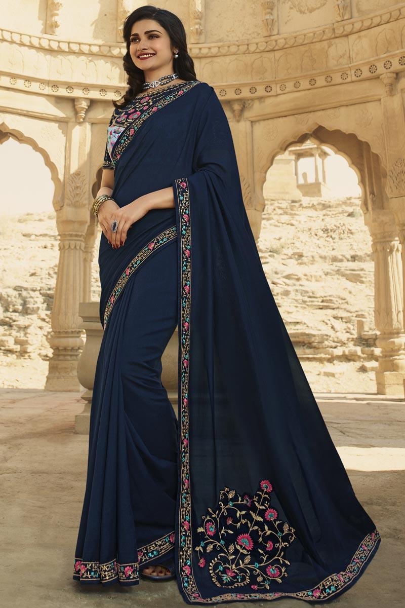 Prachi Desai Navy Blue Color Function Wear Fancy Art Silk Fabric Embroidered Saree