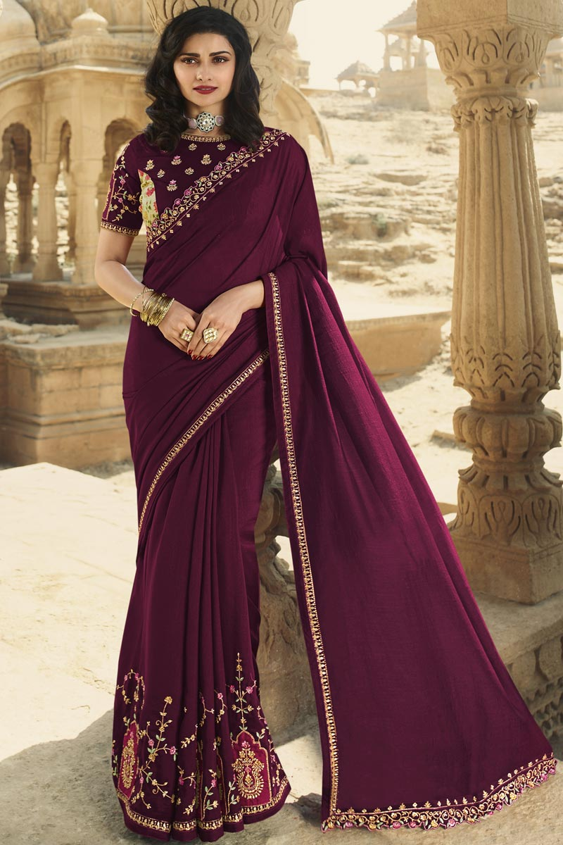 Prachi Desai Wine Color Fancy Function Wear Art Silk Fabric Embroidered Saree
