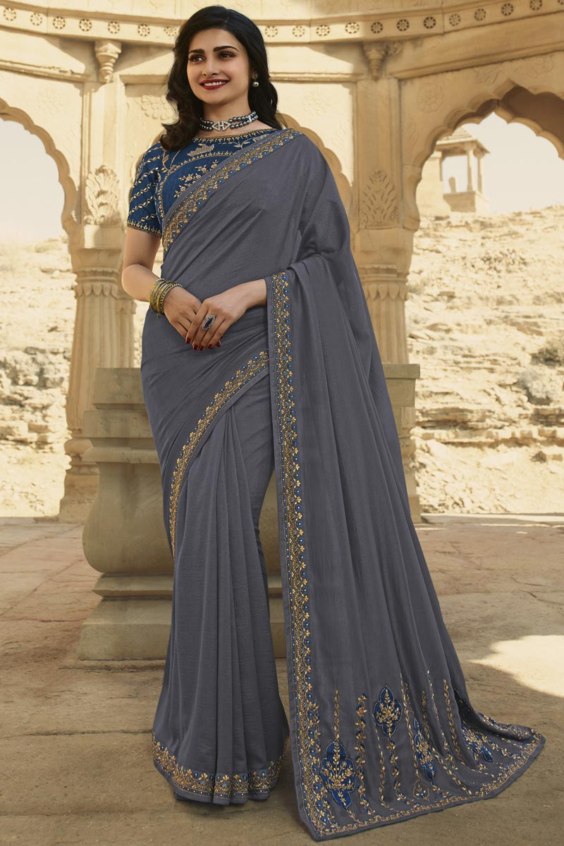 Prachi Desai Art Silk Fabric Function Wear Grey Color Fancy Embroidered Saree