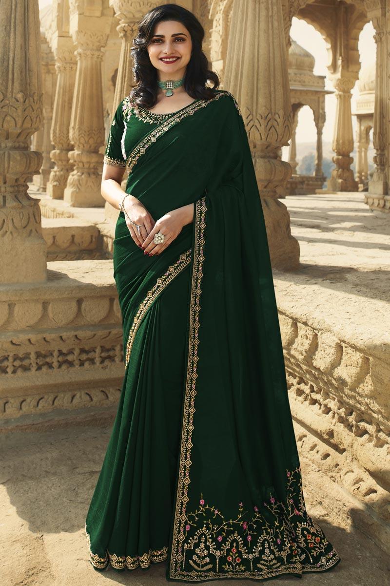 Prachi Desai Dark Green Color Function Wear Fancy Embroidered Saree In Art Silk Fabric