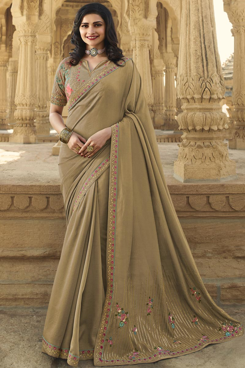 Prachi Desai Function Wear Art Silk Fabric Fancy Chikoo Color Embroidered Saree