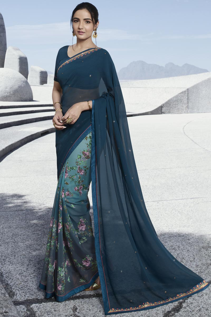 Jasmin Bhasin Fancy Navy Blue Party Style Georgette Printed Saree