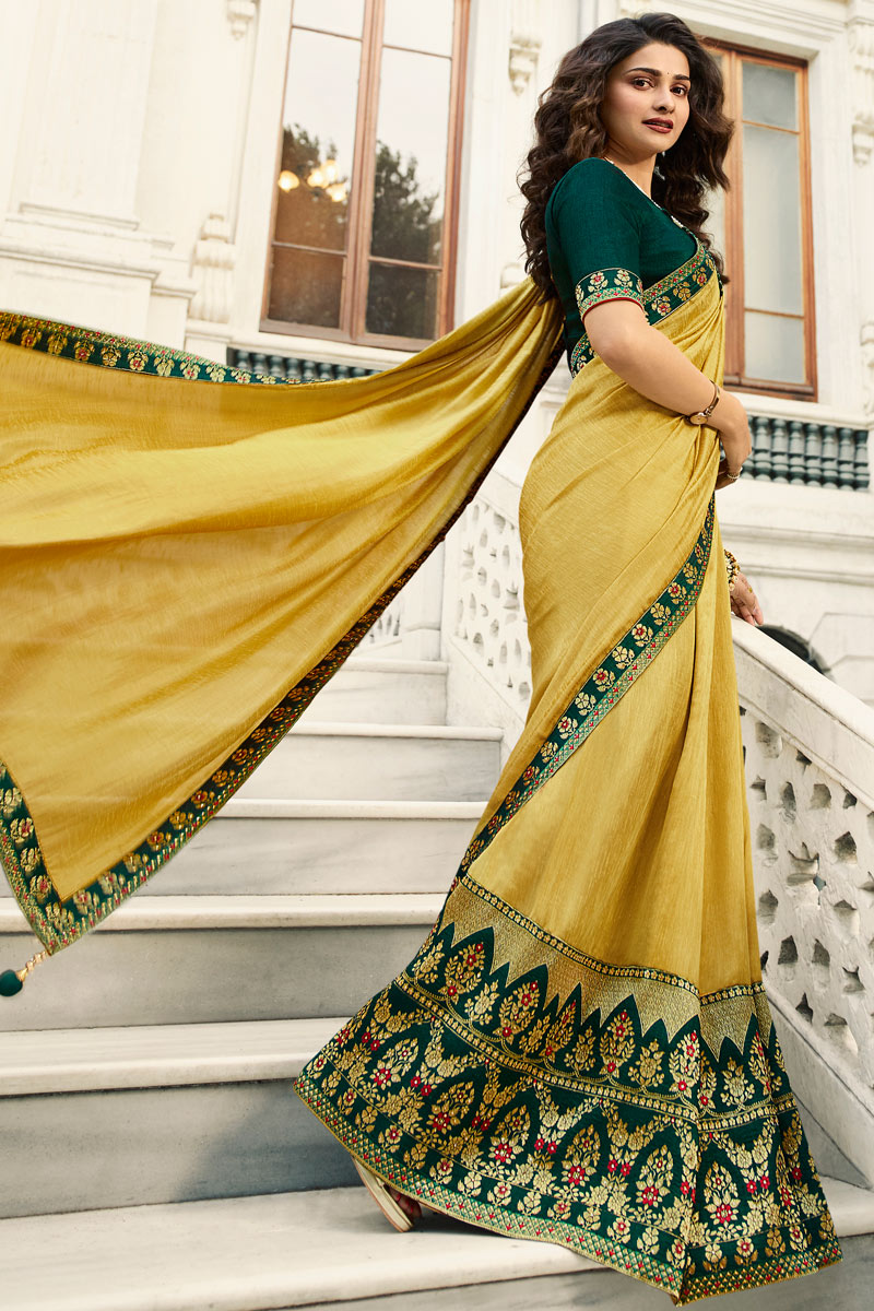 Eid Special Prachi Desai Embroidery Designs On Art Silk Yellow Color Party Wear Saree With Mesmerizing Blouse