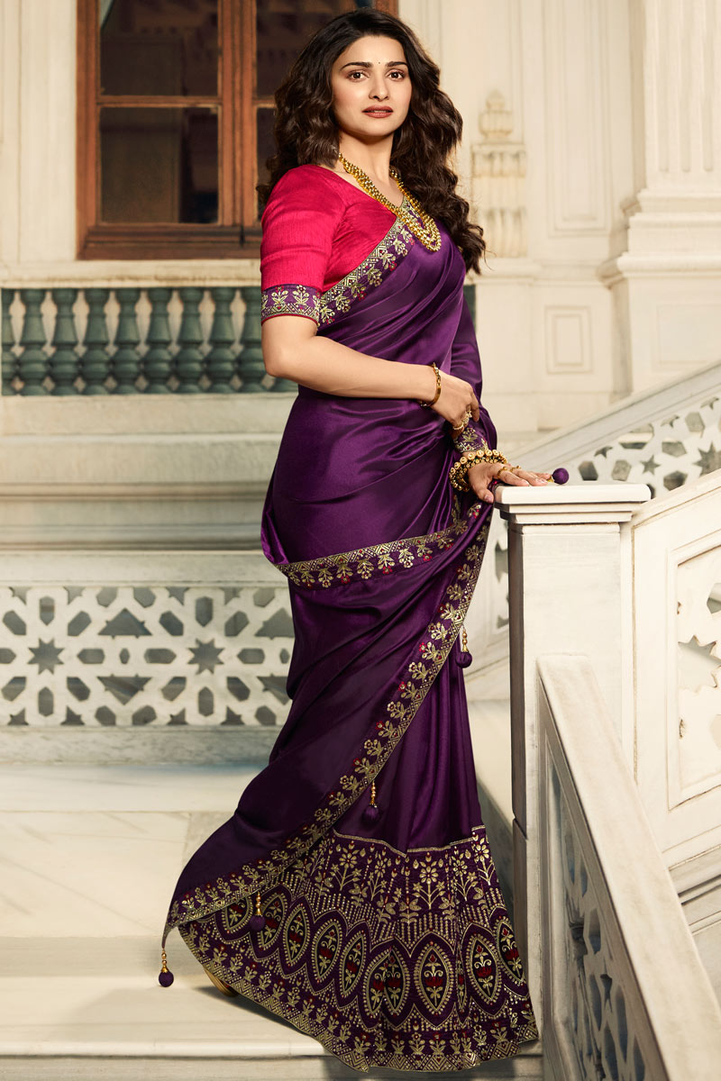 Eid Special Prachi Desai Purple Color Art Silk Designer Saree With Embroidery Work And Party Wear Blouse