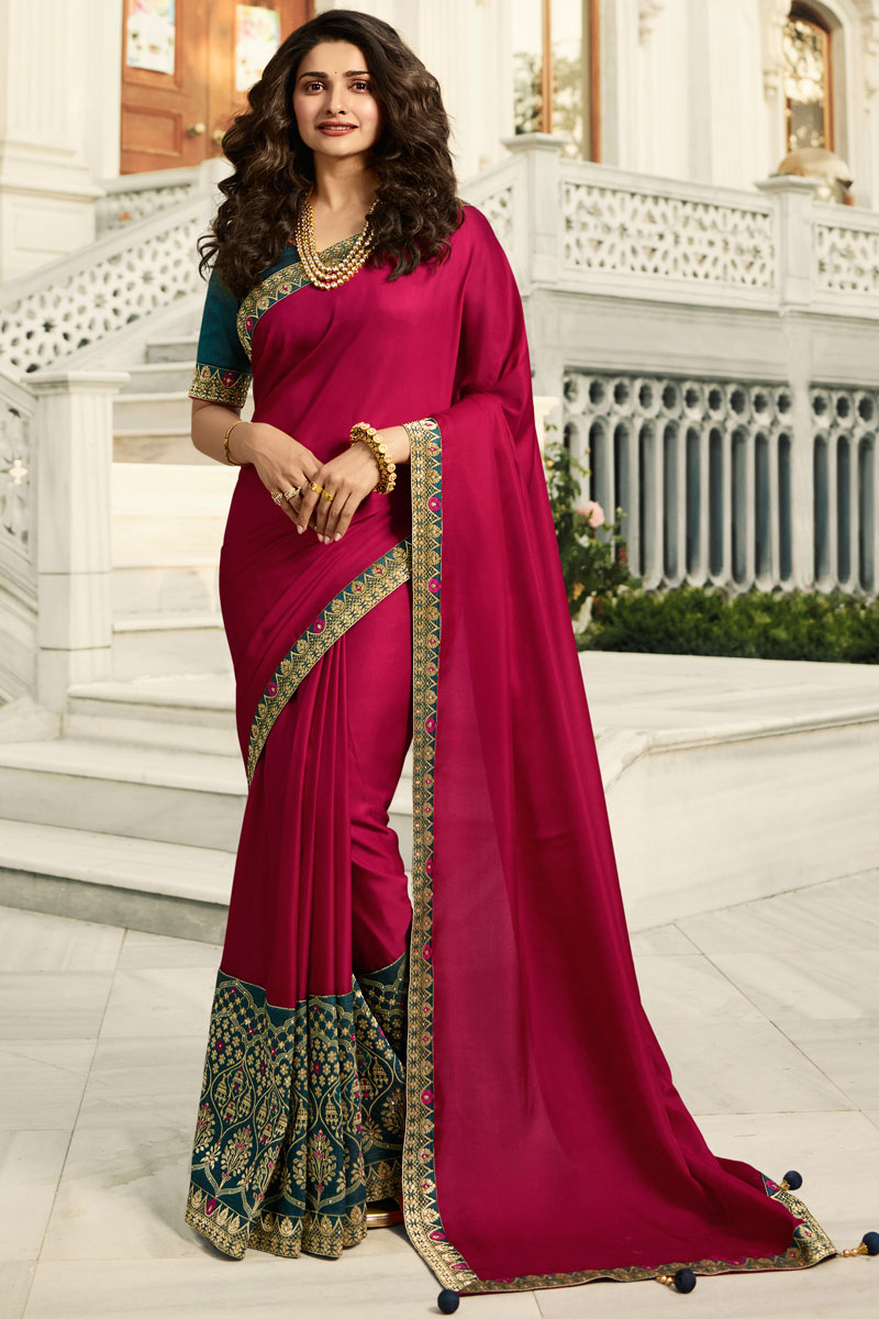 Eid Special Prachi Desai Art Silk Embroidery Work On Dark Pink Color Occasion Wear Saree With Enchanting Blouse