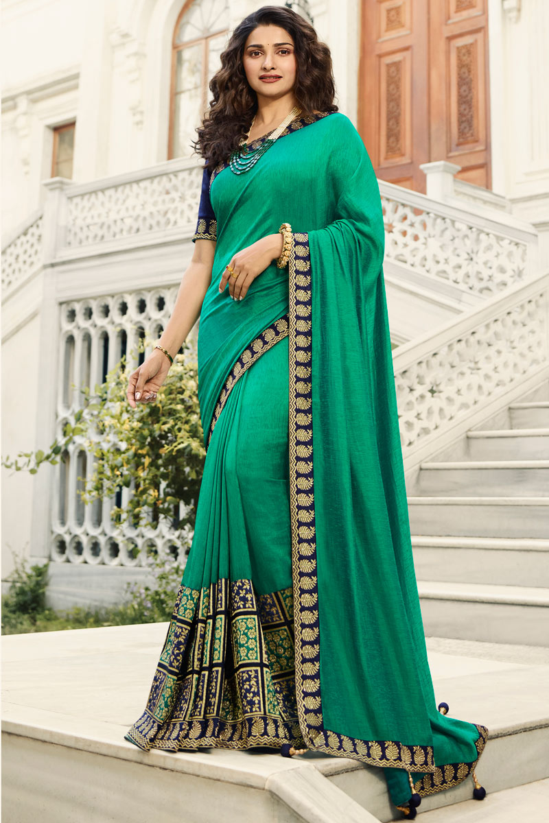 Eid Special Prachi Desai Embroidery Designs On Light Turquoise Color Art Silk Party Wear Saree With Designer Blouse