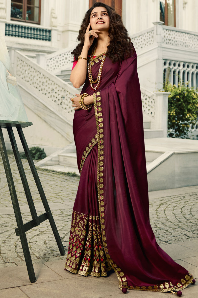 Eid Special Prachi Desai Art Silk Burgundy Color Party Wear Saree With Embroidery Work And Charming Blouse