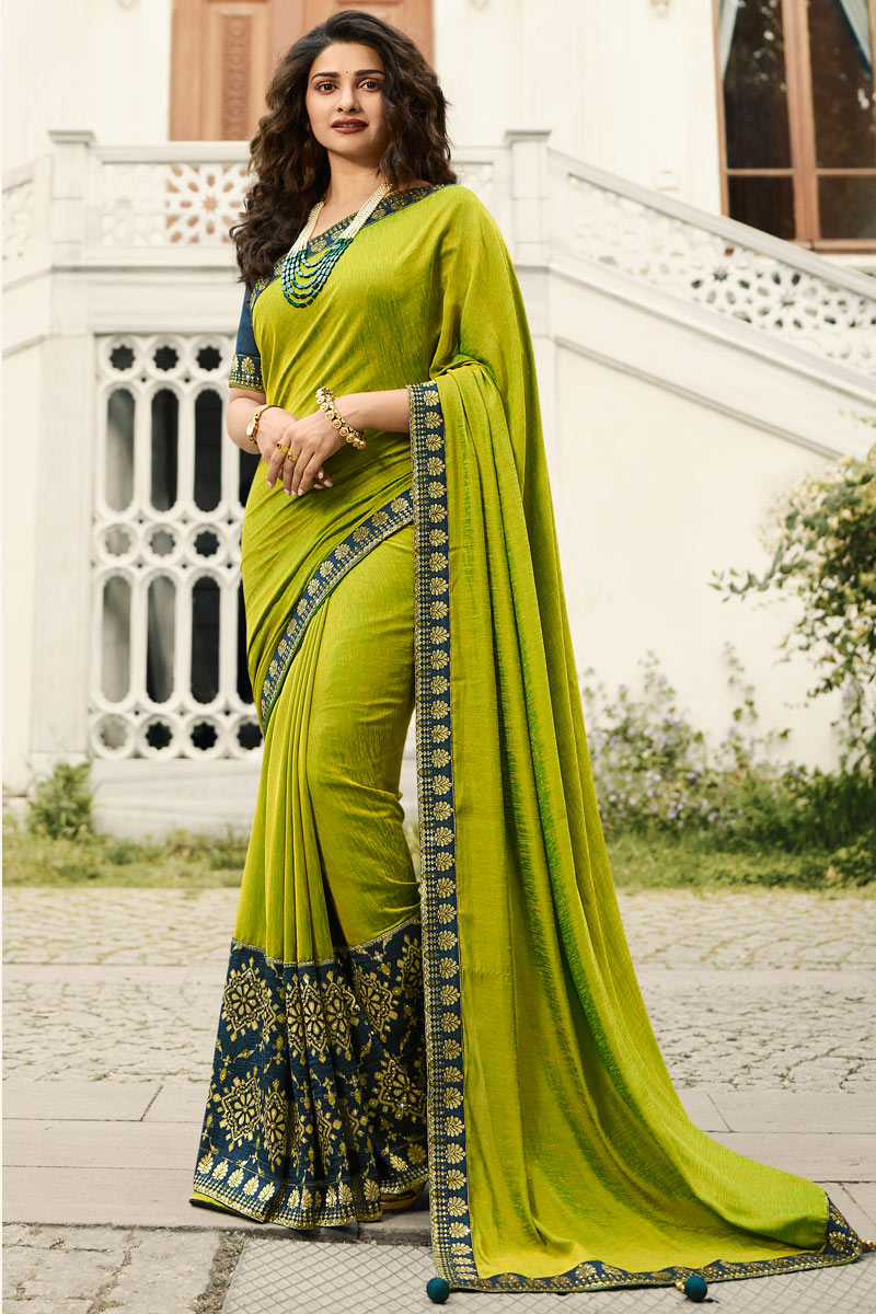 Eid Special Prachi Desai Embroidery Designs On Art Silk Occasion Wear Saree In Green Color With Enticing Blouse