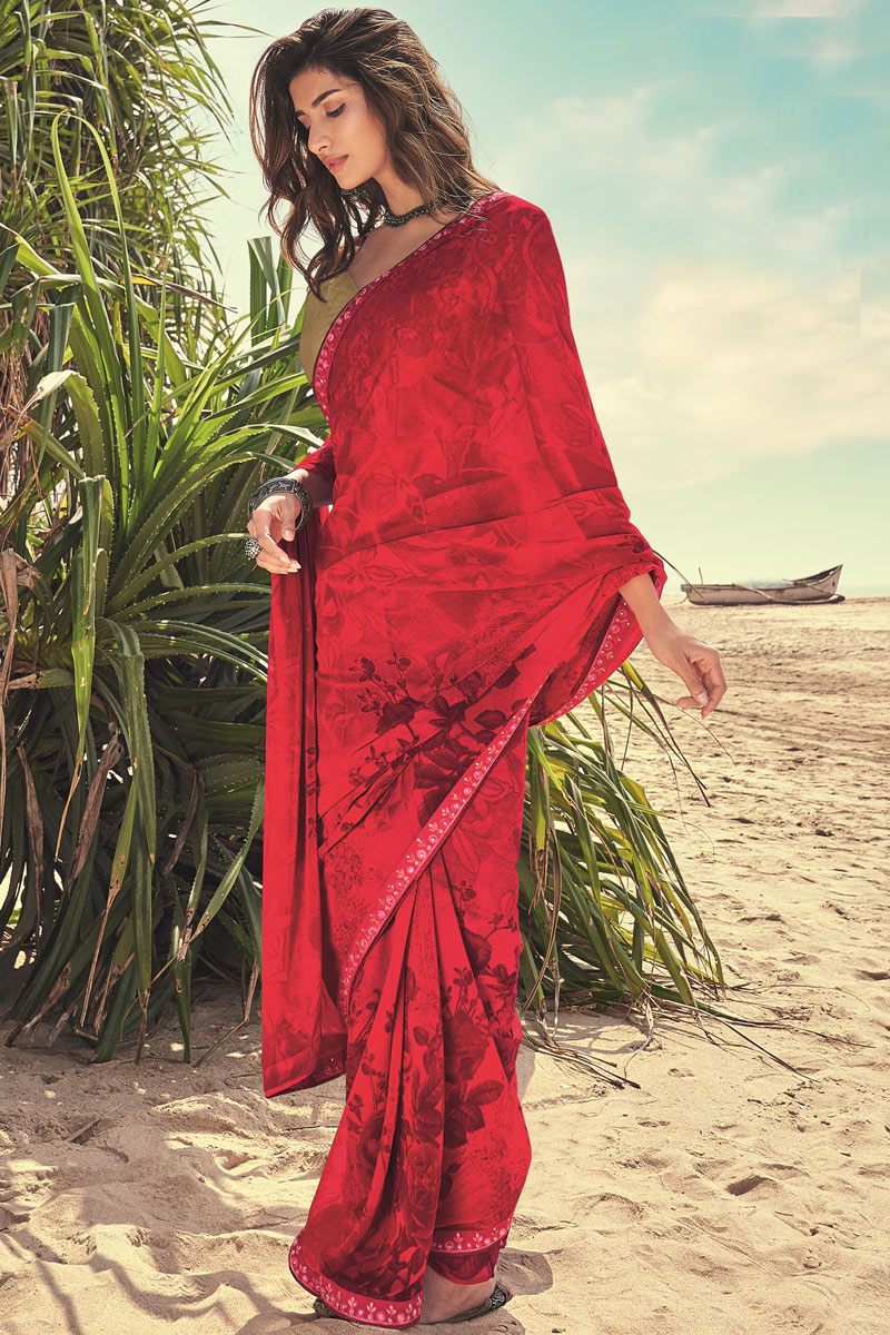 Fancy Printed Georgette Fabric Daily Wear Saree In Red Color