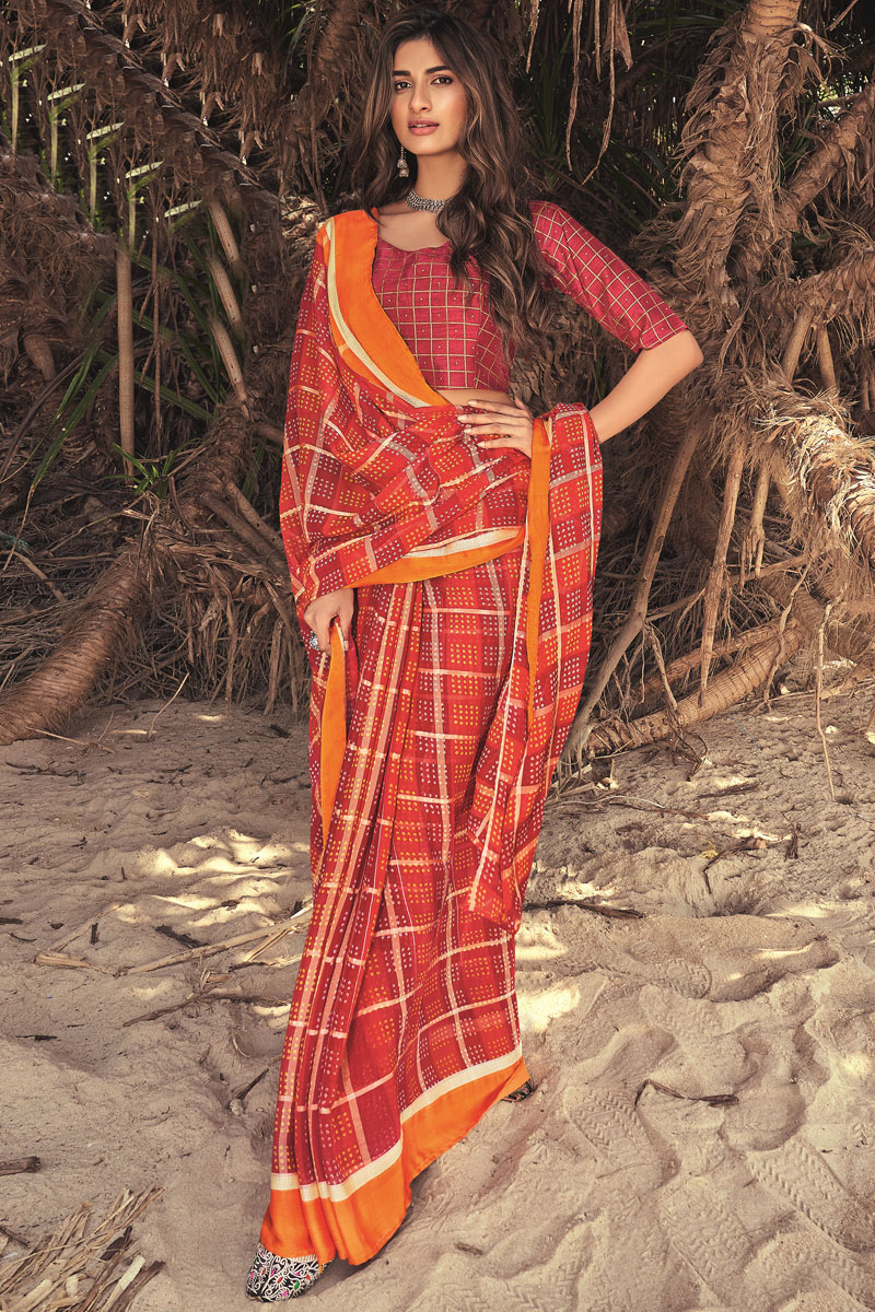 Printed Georgette Fabric Office Wear Maroon Color Saree With Blouse