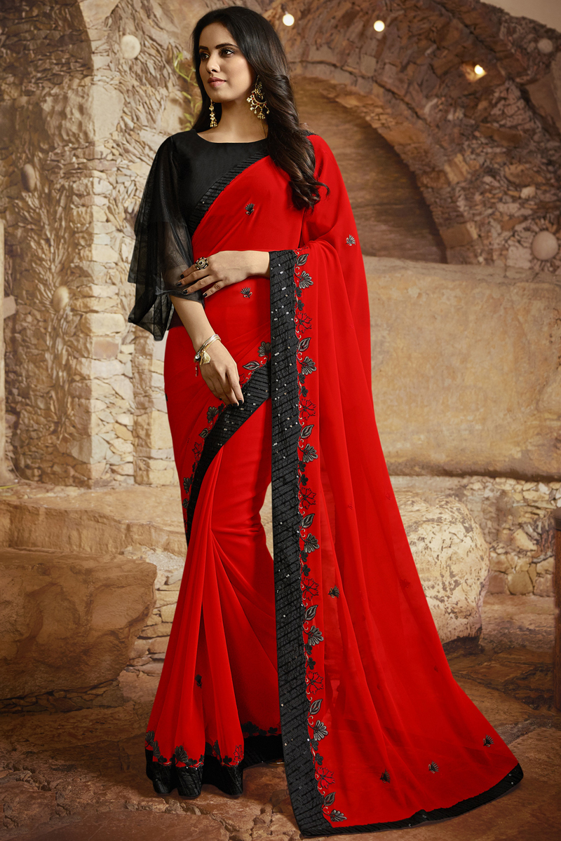 Red Color Georgette Silk Fabric Function Wear Saree
