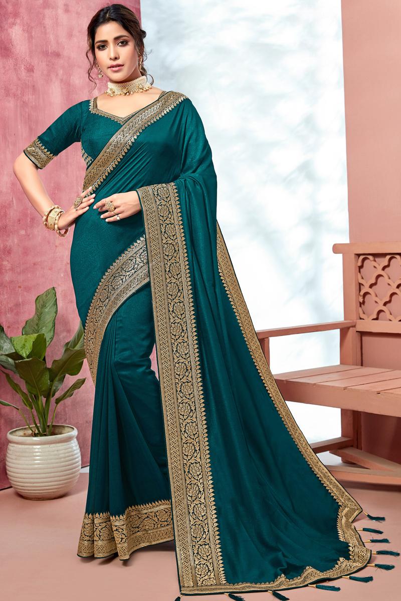 Teal Color Fancy Border Work Saree In Art Silk Fabric