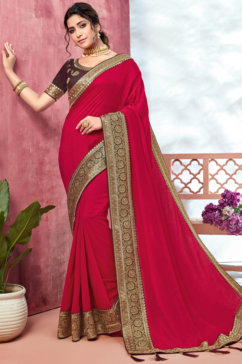 Art Silk Fabric Party Wear Border Work Saree In Dark Pink Color