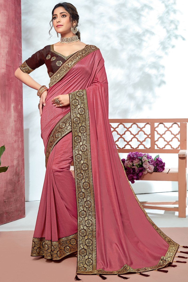 Art Silk Fabric Pink Color Designer Border Work Saree